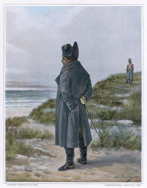 NAPOLEON I French emperor exiled to Saint Helena (guard in background)