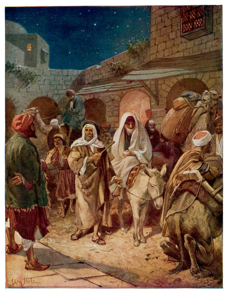 Joseph and Mary look for somewhere to stay in Bethlehem, and find that all the hotels are full