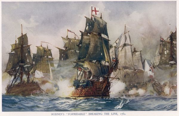 Naval Battle 1782. Off St Lucia, West Indies, Rodney attacks de Grasse's fleet