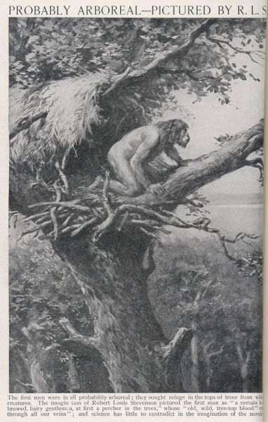 Maybe the earliest men lived in the trees? Robert Louis Stevenson thought so - this is how he imagined our Neanderthal ancestors