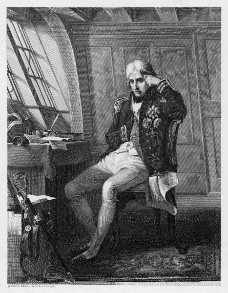 NELSON IN HIS CABIN. HORATIO, LORD NELSON in his cabin before a battle
