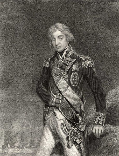 HORATIO, LORD NELSON standing on a rocky shore, while a line of warships sails past behind him