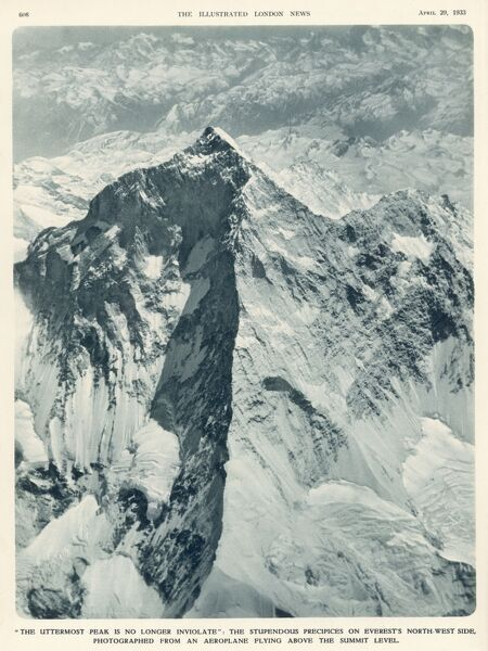 The first aerial photograph of Mt Everest's summit