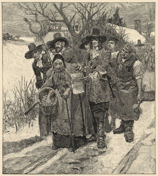 NEW ENGLAND WITCH. An old woman is arrested as a witch