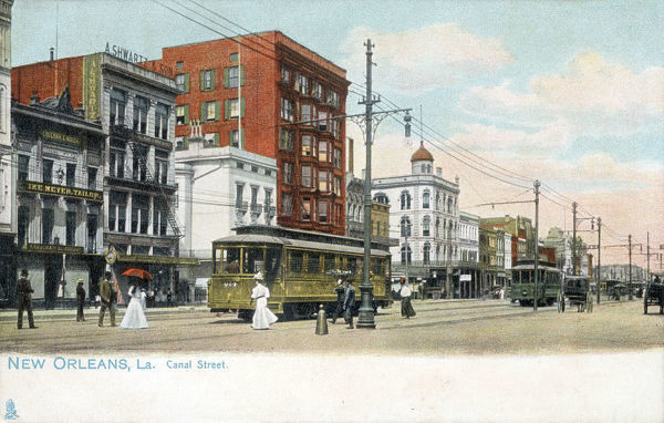 New Orleans, Louisiana, USA - Canal Street with Trams Date: circa 1904