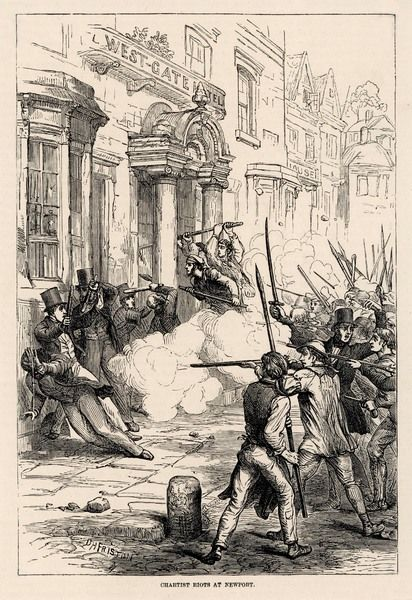 At Newport, Monmouthshire, Chartist rioters from nearby mines, led by John Frost, fire on the magistrates at the Westgate hotel but are dispersed by the military