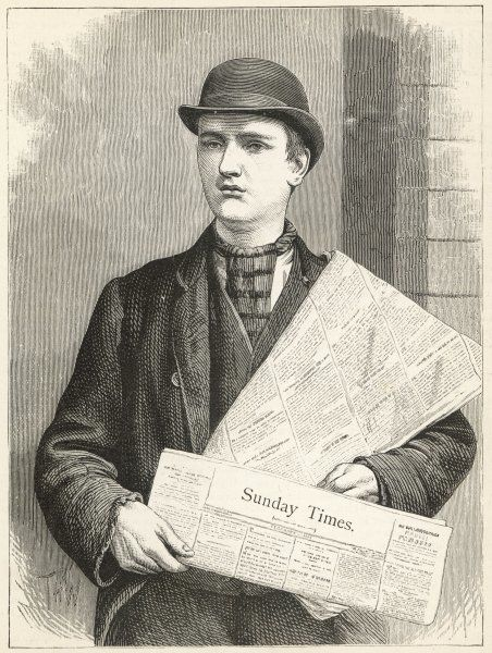 A newsboy selling The Sunday Times