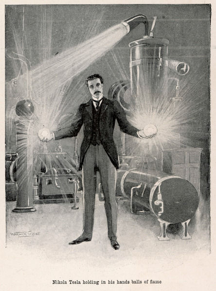 Nikola Tesla (1856-1943), Croatian inventor holding balls of flame in his bare hands