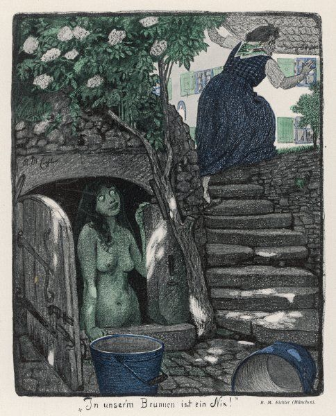 NIXIE IN THE WELL. A NIXIE in the well frightens an old woman who came thereto fetch water