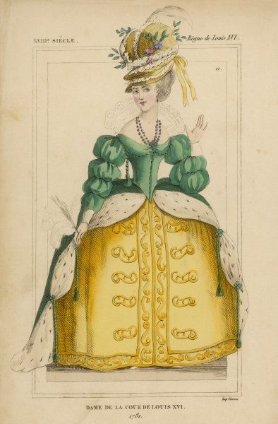 French woman in court dress from the reign of Louis XVI