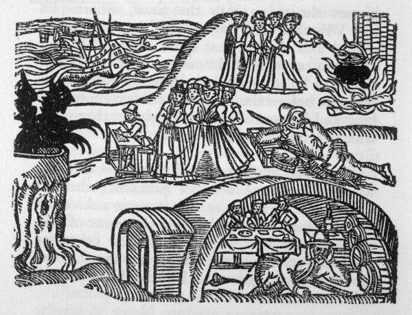 The North Berwick Witches -- Satan lures Dr Fian and other misguided people to indulge in evil practices such as causing shipwrecks by casting spells