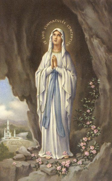 The Virgin Mary as supposedly seen by Bernadette - a highly romanticised Italian depiction