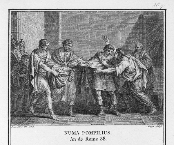 Numa Pompilius succeeds Romulus as ruler of Rome, and inaugurates the legendary Golden Age of Ancient Rome