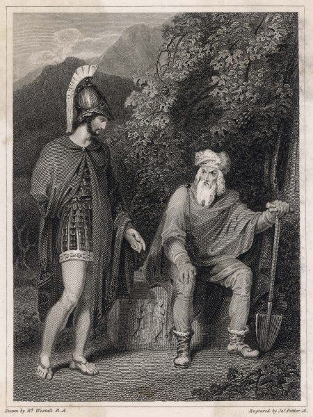 Odysseus visiting his father, Laertes, after returning home and killing all of Penelope's suitors. Laertes has been grieving throughout his son's long absence