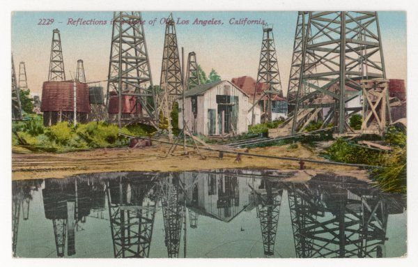 OIL / LOS ANGELES. Reflections in the lake of oil, Los Angeles, California