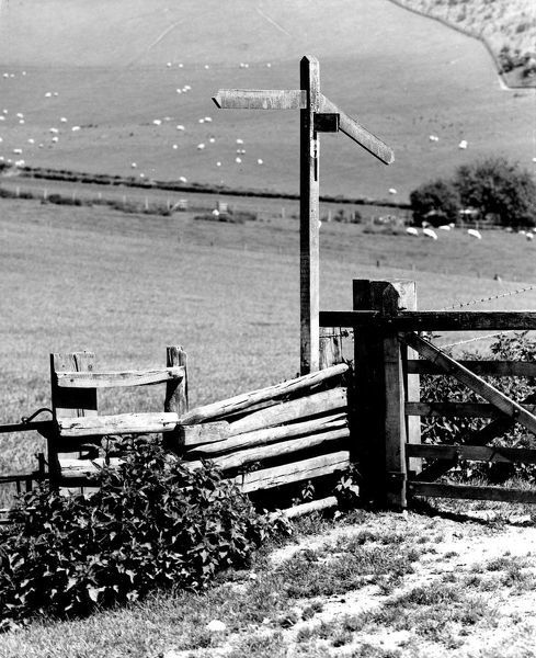 Old fence and signpost at Bix near Henley-on-Thames, Oxon