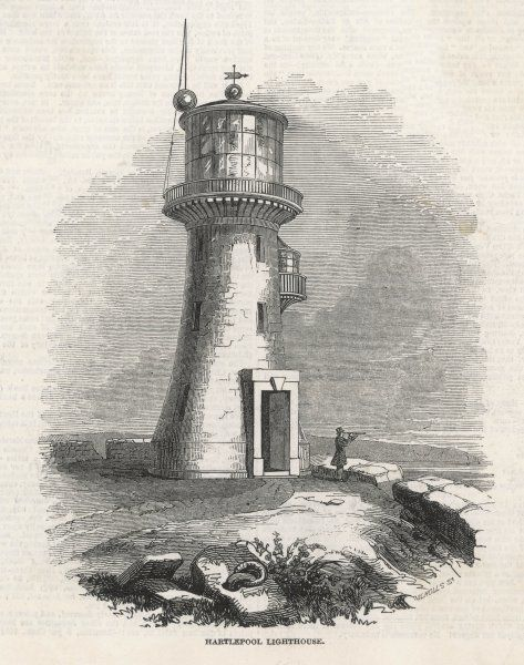 View of the old Hartlepool Lighthouse, north east England (County Durham), completed in 1847. A man with a telescope scans the horizon