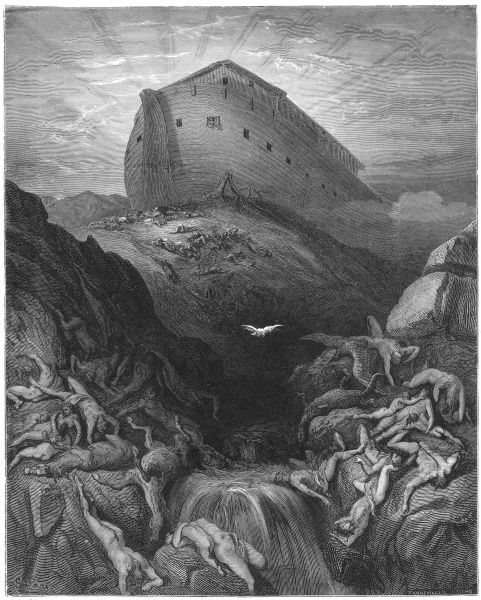 Old Testament -- Noah's Ark, resting on Mount Ararat after the Deluge, with the bodies of drowned people littering the landscape