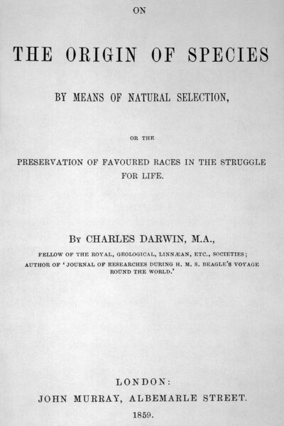 Title-page of Charles Darwin's On The Origin Of Species By Means of Natural Selection