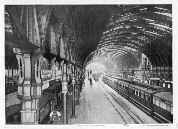PADDINGTON STATION. Interior of the terminus with a general view of the platforms
