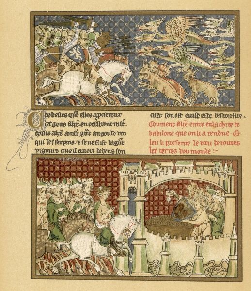 An illustrated page from a French manuscript narrating the life of Alexander the Great. It shows him slaying dragons and entering a castle