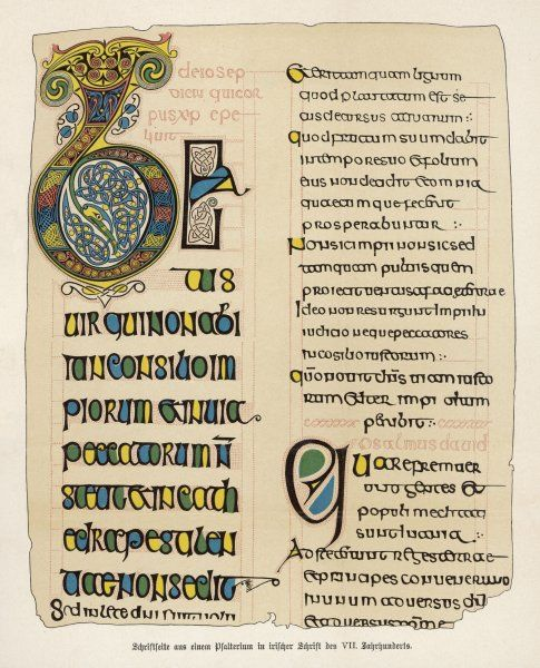 Page from an Irish psalter, with Psalm 112, beginning 'Beatus vir' ('Blessed is the man who fears the Lord')