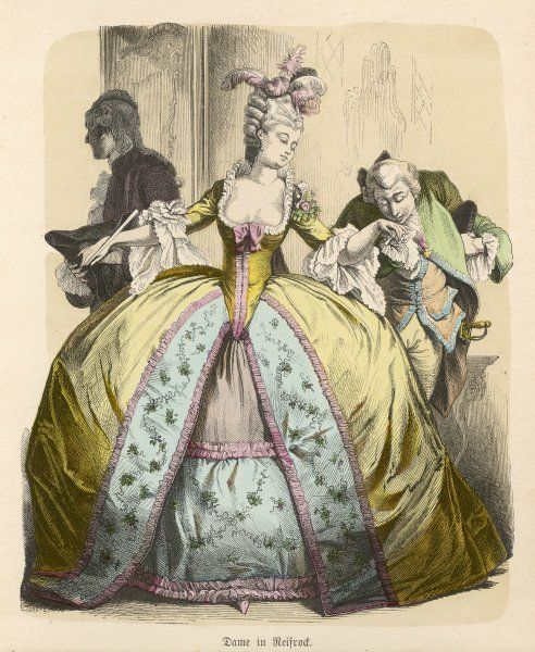 Panier Dress ?1777. A lady, in a gown with low, square decolletage