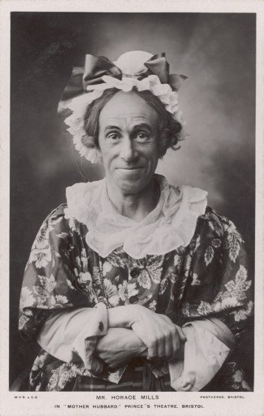 Mr Horace Mills as Old Mother Hubbard at the Prince's Theatre, Bristol