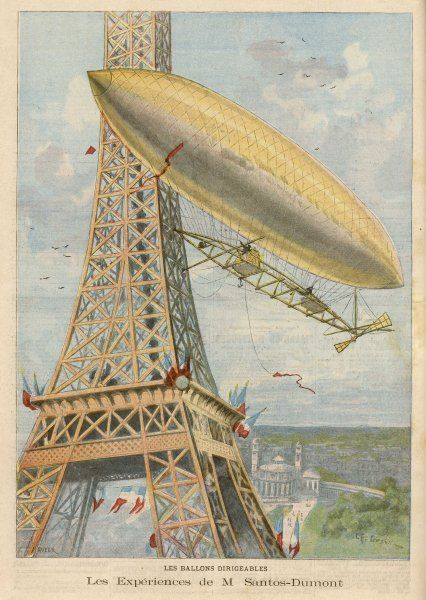 SANTOS-DUMONT successfully flies round the Tour Eiffel, though he fails to complete the circuit in 30 minutes to win the offered prize