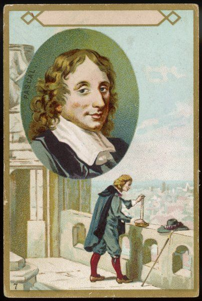PASCAL/TRADE CARD. BLAISE PASCAL French scientist and philosopher