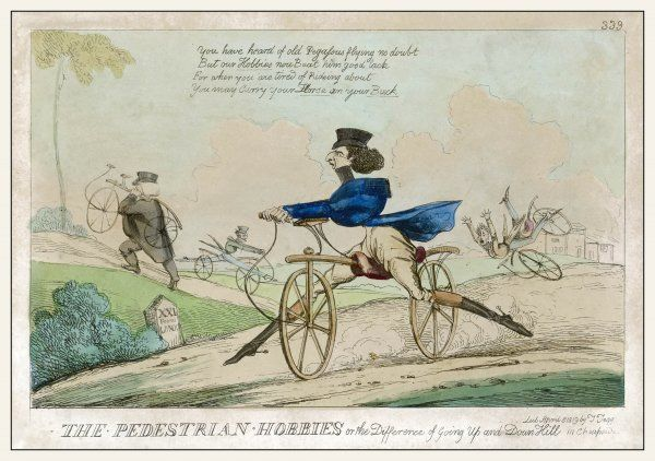 PEDESTRIAN HOBBY. 'THE PEDESTRIAN HOBBIES or the Difference of Going Up and Down Hill'