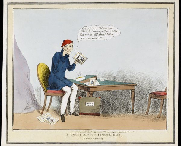 A Peep at the Premier: The Duke of Wellington examines a caricature of himself as a policeman and of his friend Eldon as a radical