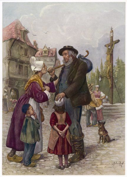 Mr Peggotty asks an old woman and her children if they have seen Emily