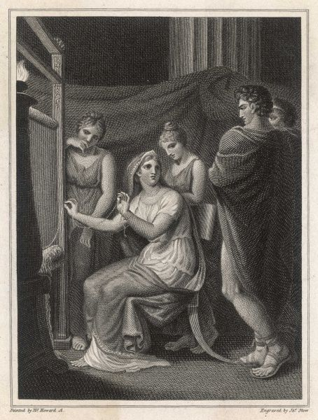 Penelope and her suitors, during the long absence of her husband Odysseus