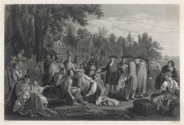William Penn makes a treaty with the native Americans and proceeds to found Pennsylvania