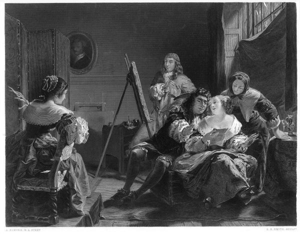 Samuel Pepys pays little attention while artist paints portrait of his wife