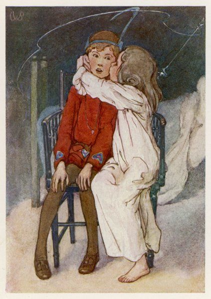 Peter being kissed gently on the cheek by Wendy. Date: First published: 1904