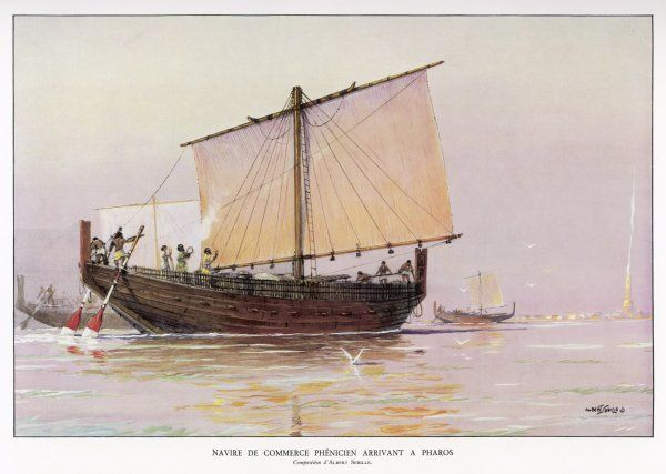 PHOENICIAN SHIP. A Phoenician trading vessel arrives at Pharos