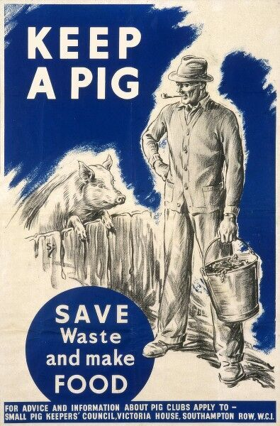 Poster from the Small Pig Keepers' Council encouraging the keeping of pigs during wartime - save waste and make food - illustrated by a man in cardigan and hat with a bucket of slops for the pig