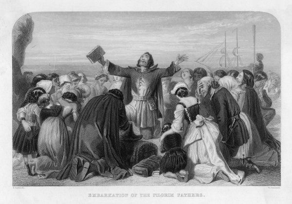 The 'pilgrims' pray before embarking on the voyage from Plymouth to America