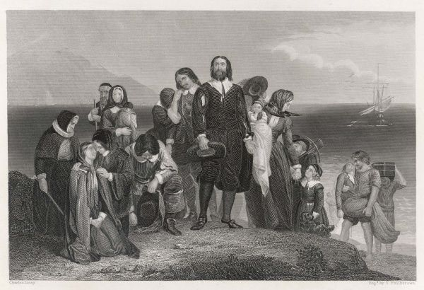 The Pilgrim Fathers landing at what would later be Plymouth, Massachusetts