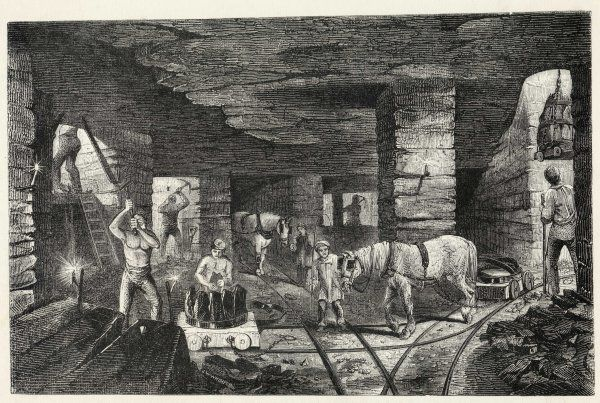 Working with horses in the Bradley Mine, near Bilston, Staffordshire [England]