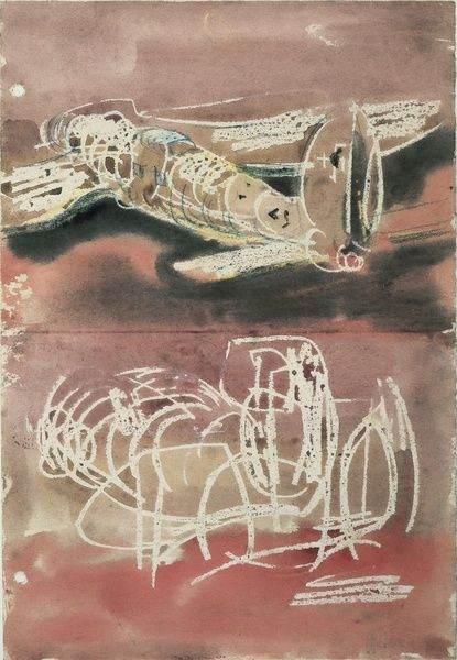 Planes (1940). Wax drawing by Henry Moore. Drawing