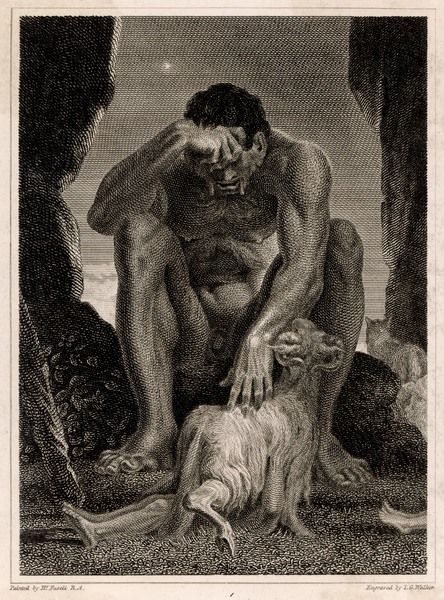 Polyphemus (Polyphemos) the Cyclops, the gigantic one-eyed son of Poseidon and Thoosa, seen here in his cave with one of his sheep. In Homer's Odyssey he kills and eats several of Odysseus's men. Odysseus gives him wine which makes him sleepy