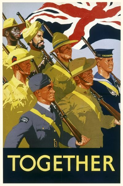 Together Poster, showing the armed forces of the British Empire marching together