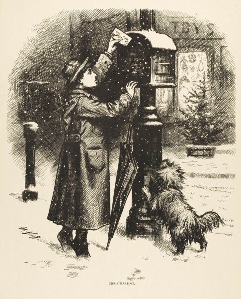 An American boy goes out with his dog in the snow to the pillar-box to post his final instructions to Santa Claus