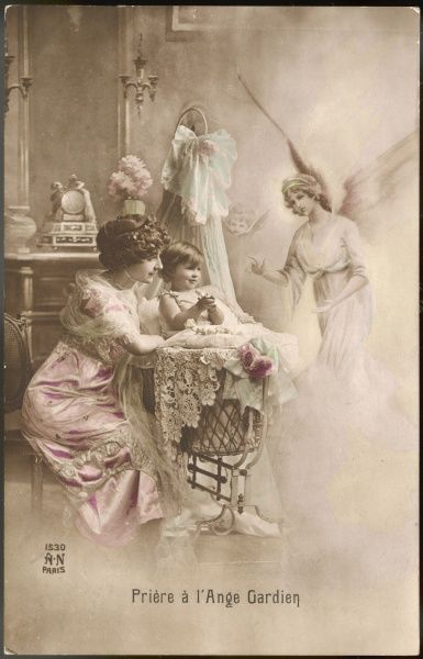 A mother instructs her little child how to pray to its GUARDIAN ANGEL, who appears beside the cot together with a putto