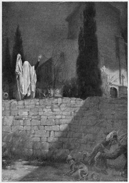 A man dresses up as an archetypal ghost and stands in a graveyard flapping his drapes, alarming passers-by