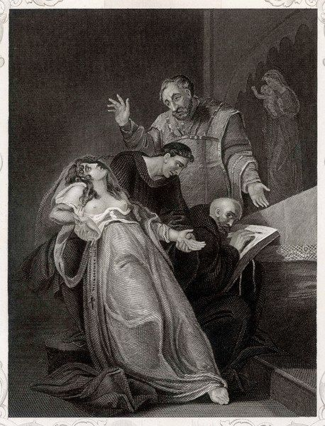 Elizabeth Barton (known as The Maid of Kent) prophesies doom for England as a result of Henry VIII's break with Rome, for which he has her executed
