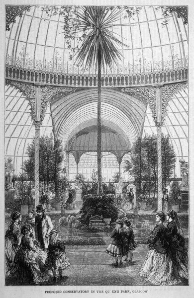 Inside a proposed conservatory (or greenhouse) for the Queen's Park, Glasgow